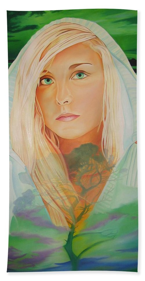 Beautiful Woman Bath Sheet featuring the painting The Dreaming Tree by Joshua Morton