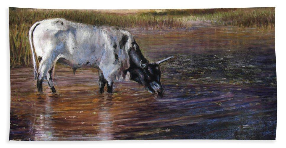 Cow Hand Towel featuring the pastel The Drink by Susan Jenkins