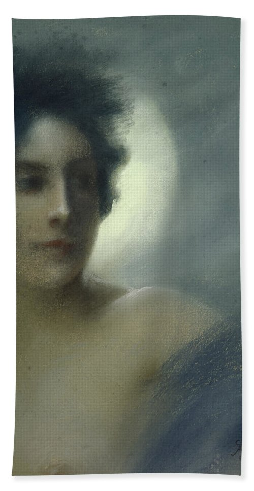 Woman With A Crescent Moon Or Bath Sheet featuring the pastel The Eclipse by Paul Albert Besnard