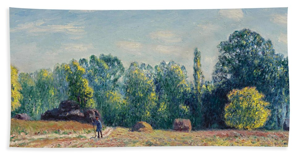 Alfred Sisley Hand Towel featuring the painting The Edge Of The Forest 2 by Alfred Sisley