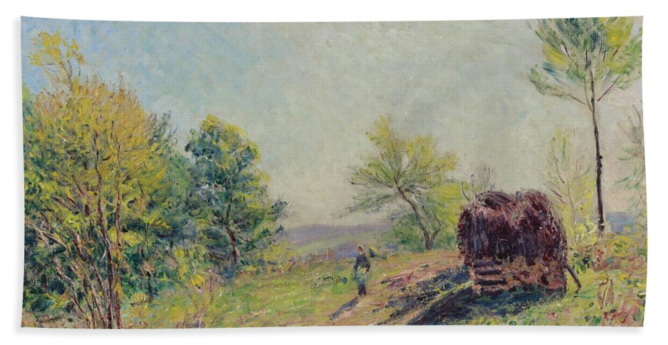 Alfred Sisley Hand Towel featuring the painting The Edge Of The Forest by Alfred Sisley