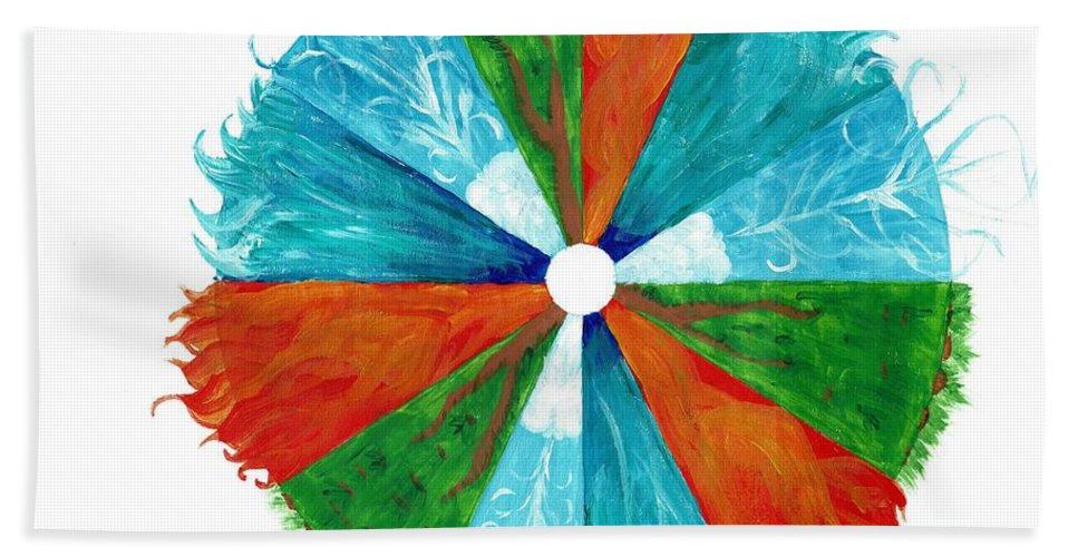 Fire Hand Towel featuring the painting The Elements by Christa Chandler