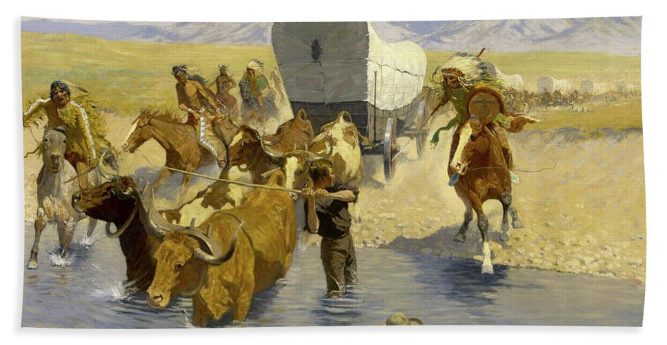 Emigrants Bath Sheet featuring the painting The Emigrants by Frederic Sackrider Remington