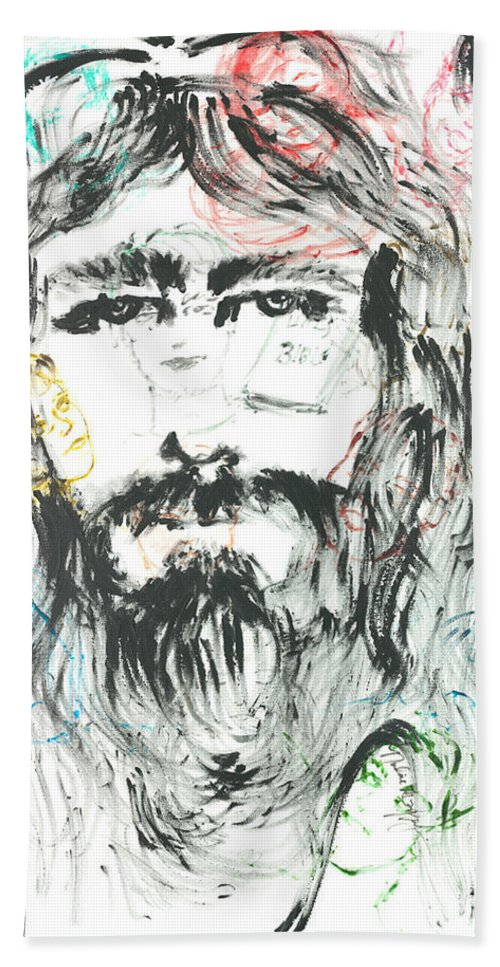 Jesus Bath Sheet featuring the painting The Emotions Of Jesus by Nadine Rippelmeyer