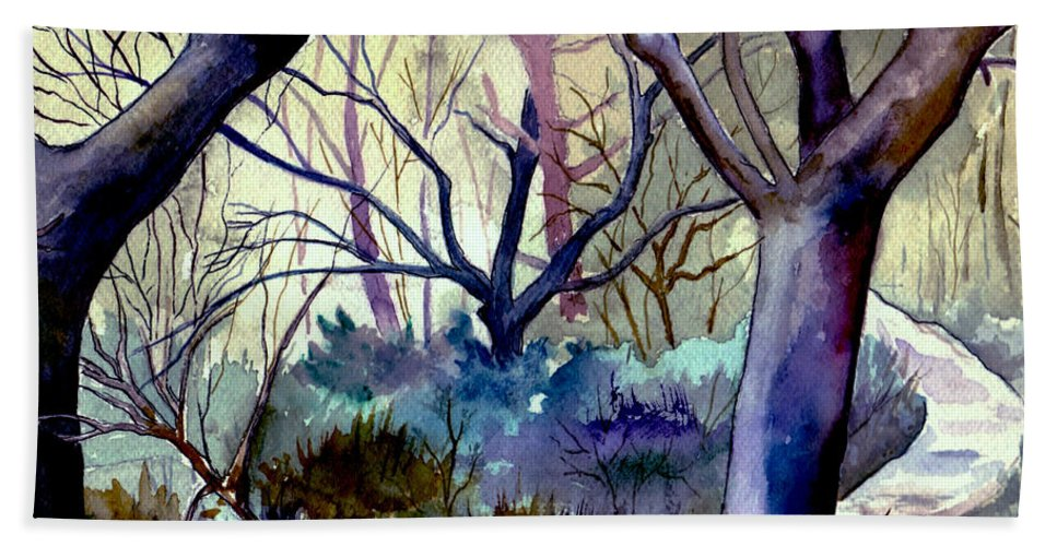 Watercolor Hand Towel featuring the painting The Enchanted Path by Brenda Owen