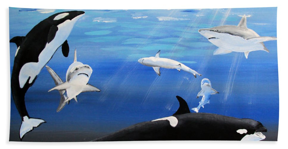 Killer Whales Hand Towel featuring the painting The Encounter by Luis F Rodriguez