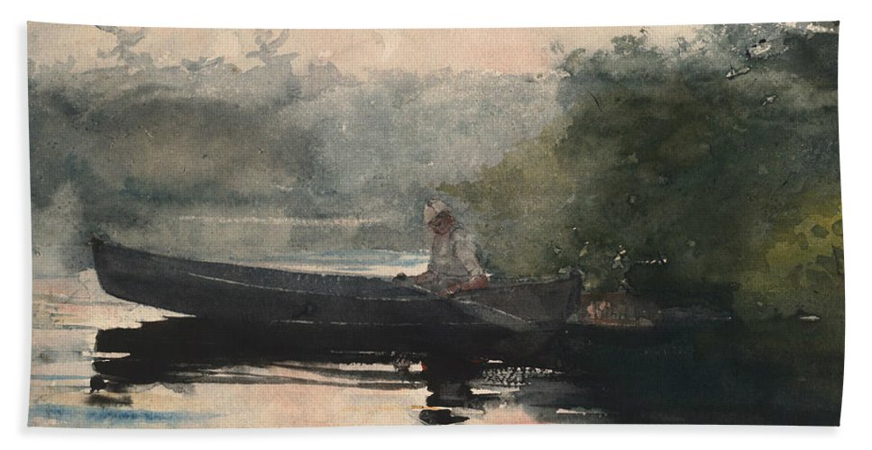 19th Century American Painters Hand Towel featuring the painting The End Of The Day Adirondacks by Winslow Homer