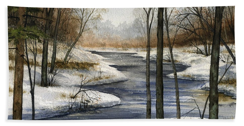 River Hand Towel featuring the painting The End Of The Road by Mary Tuomi