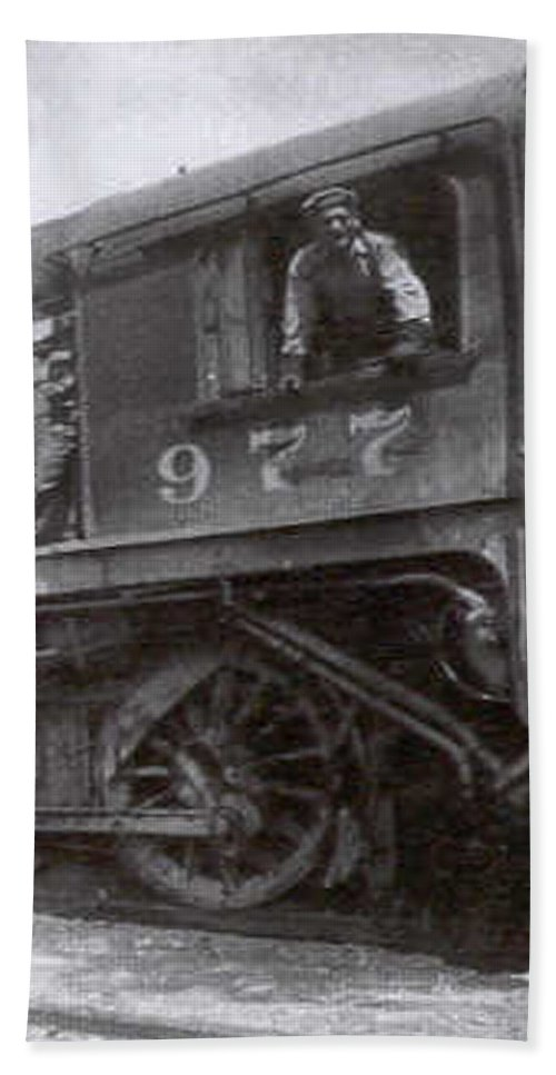 Old Photo Black And White Classic Saskatchewan Pioneers History Train Engineer Hand Towel featuring the photograph The Engineer by Andrea Lawrence