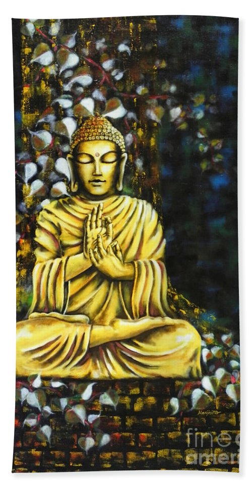 Buddha Hand Towel featuring the painting The Enlightened One by Gallery Hermana