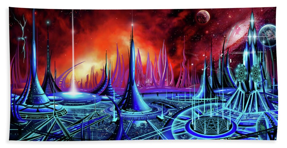 Copyright 2016 - James Christopher Hill; James Hill Gallery; Sunrise; Sunset; Power; Glory; Galaxy; Ancient; Power; Castle; Fantasy Moon; Planet; Space; Time; Castle; Cathedral; Sacred Geometry; Golden Mean; Pentagram; Nine; Enneagon; Polygon; Buttress; Spire; Holy; Archives; Ancient Secrets; Laser; God; Glory; Trinity; Universe; Republic; Senate; Sci-fi; Fantasy; Science Fiction; Math; Science; Sci-fi-city; Utopia; Church; Gargoyles; Nonagon; Tesla; Kubrick; Odyssey; Alexandria; Vatican Hand Towel featuring the painting The Enneanoveum by James Christopher Hill