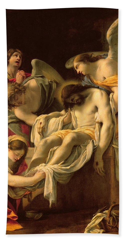 The Entombment (oil On Panel) By Simon Vouet (1590-1649) Hand Towel featuring the painting The Entombment by Simon Vouet