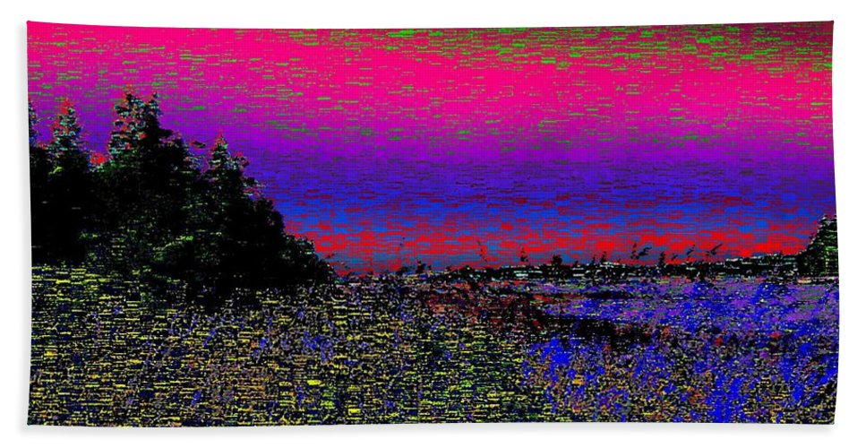 Estuary Hand Towel featuring the digital art The Estuary by Tim Allen