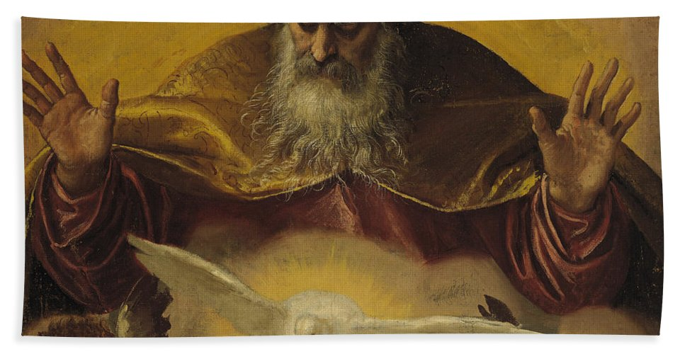 The Hand Towel featuring the painting The Eternal Father by Paolo Caliari Veronese