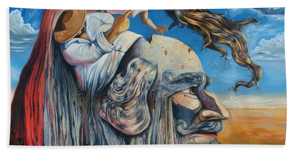 Surrealism Bath Towel featuring the painting The Eternal Obsession Of Don Quijote by Darwin Leon