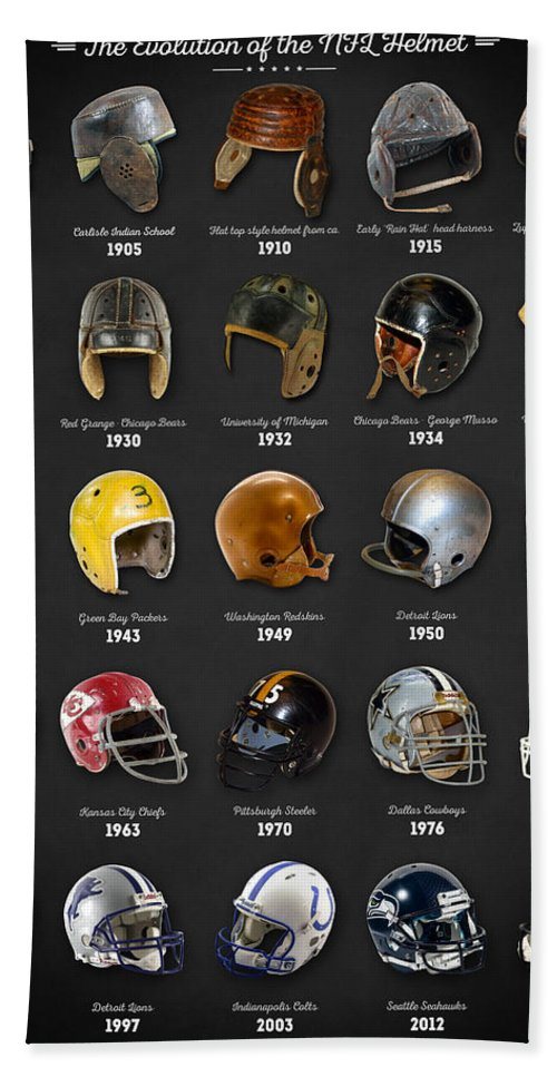 Nfl Hand Towel featuring the digital art The Evolution Of The Nfl Helmet by Zapista