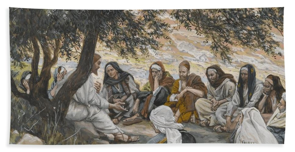 Tissot Hand Towel featuring the painting The Exhortation To The Apostles by Tissot