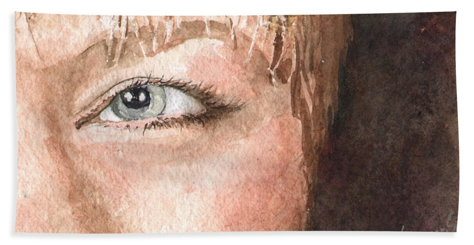Eyes Bath Sheet featuring the painting The Eyes Have It - Shelly by Sam Sidders