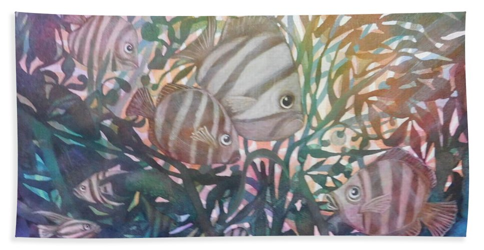Underwater Seascape Striped Fish Tropical Reef Hand Towel featuring the painting The Eyes Have It by Joan Clear