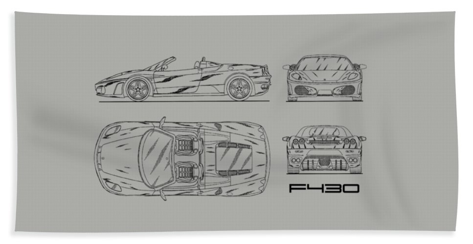 The f430 blueprint white bath towel for sale by mark rogan ferrari f430 bath towel featuring the photograph the f430 blueprint white by mark rogan malvernweather Image collections