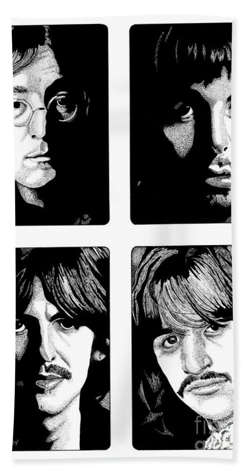 Paul Mccartney Bath Towel featuring the drawing The Fab Four by Cory Still