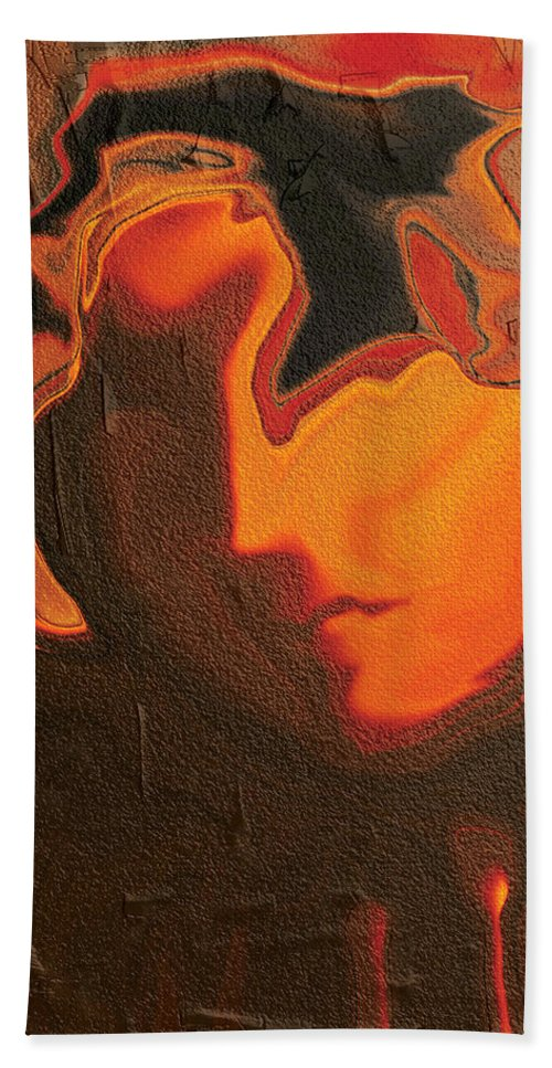 Abstract Bath Sheet featuring the digital art The Face 2 by Rabi Khan
