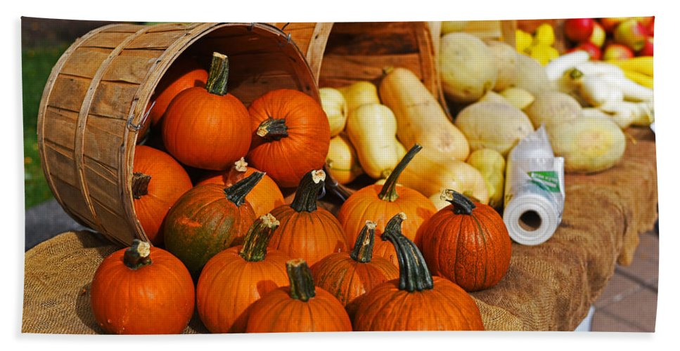 Kendall Hand Towel featuring the photograph The Fall Harvest Is In Kendall Square Farmers Market by Toby McGuire