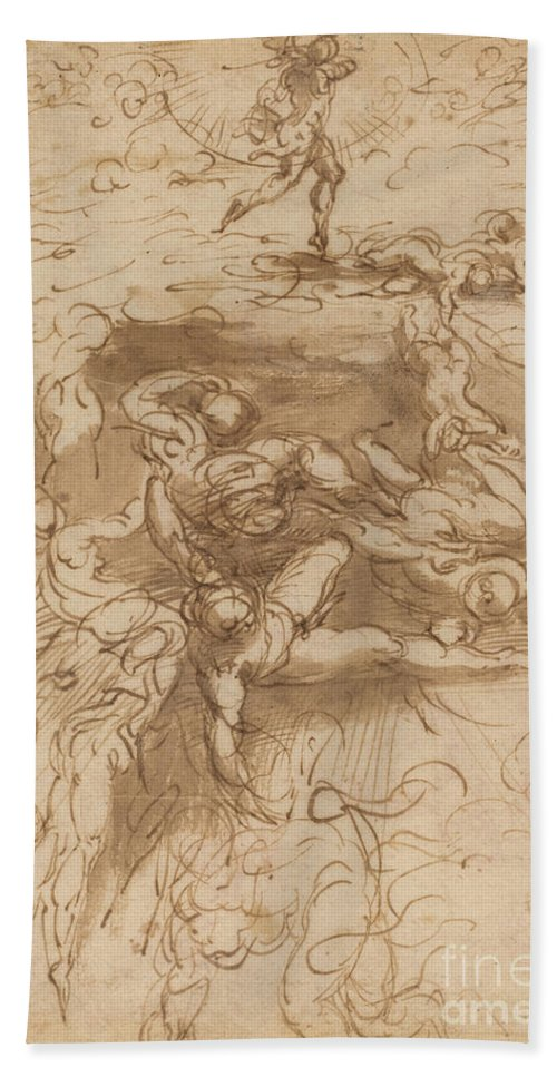 Hand Towel featuring the drawing The Fall Of The Rebel Angels [recto] by Parmigianino