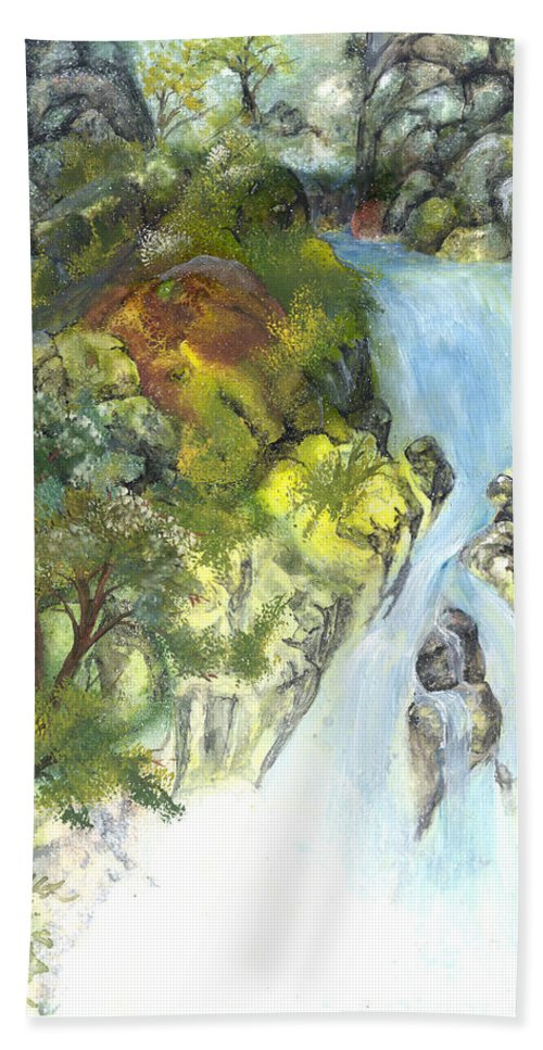 Waterfall Hand Towel featuring the painting The Falls by Sherry Shipley