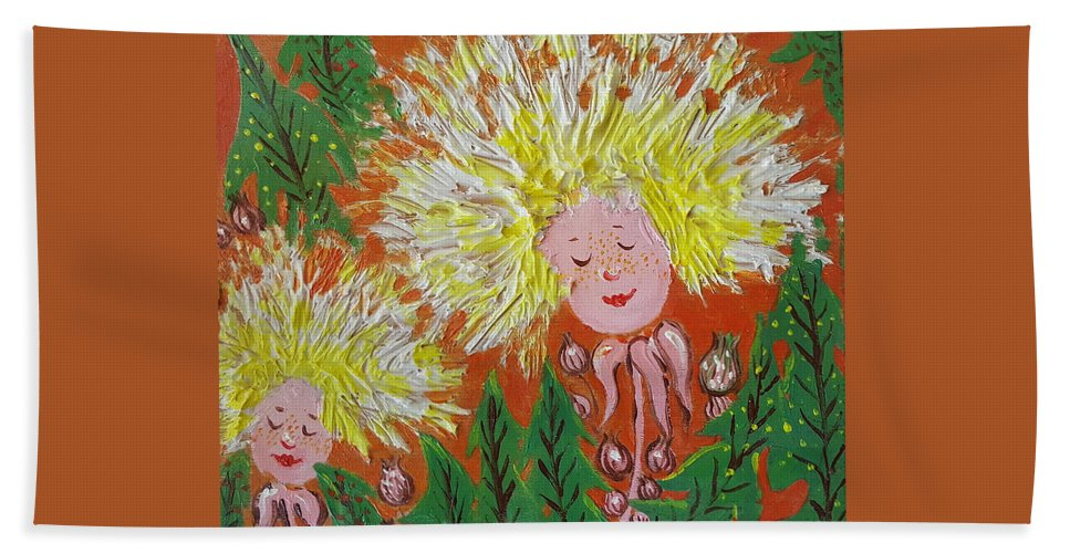 Dandelion Hand Towel featuring the painting Family 2 by Rita Fetisov