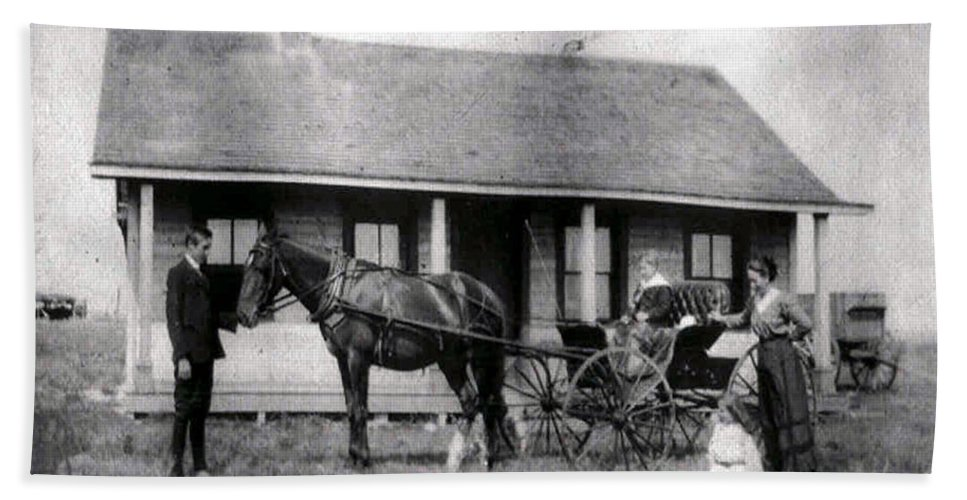 Old Photo Black And White Classic Saskatchewan Pioneers History Horse And Buggy Carriage Hand Towel featuring the photograph The Family Ride by Andrea Lawrence