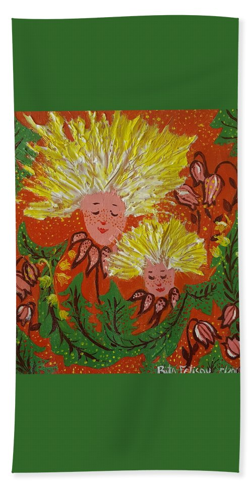 Dandelion Hand Towel featuring the painting Family by Rita Fetisov