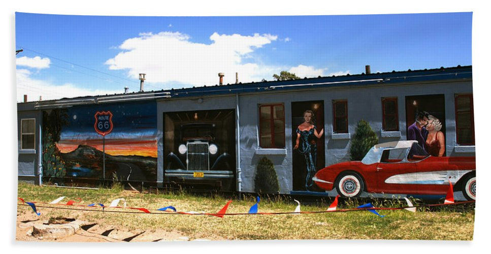 Route 66 Bath Sheet featuring the photograph The Famous Murals On Route 66 by Susanne Van Hulst