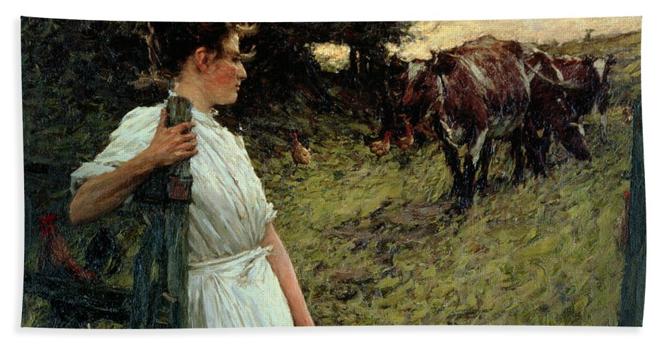 The Bath Sheet featuring the painting The Farmer's Daughter by Henry Herbert La Thangue