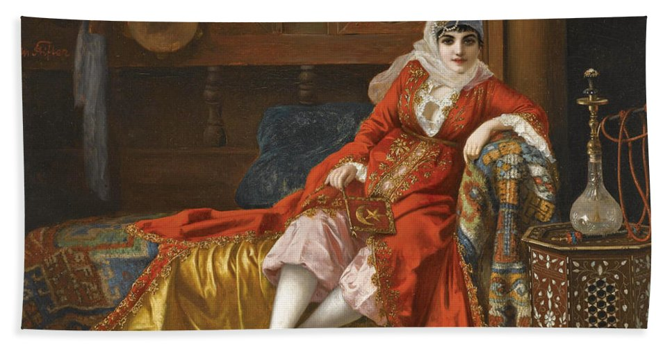 Moritz Stifter Bath Sheet featuring the painting The Favourite by Moritz Stifter