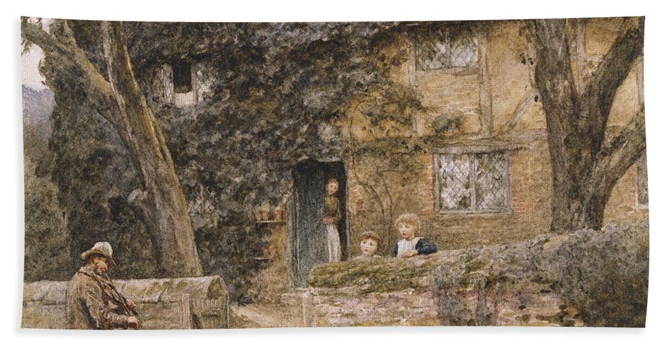 Cottage; Exterior; Travelling; Musician; Violin; Fiddle; Violinist; Children; C19th; C20th; Victorian; Gateway; Mother; Male; Female; Visitor Bath Sheet featuring the painting The Fiddler by Helen Allingham