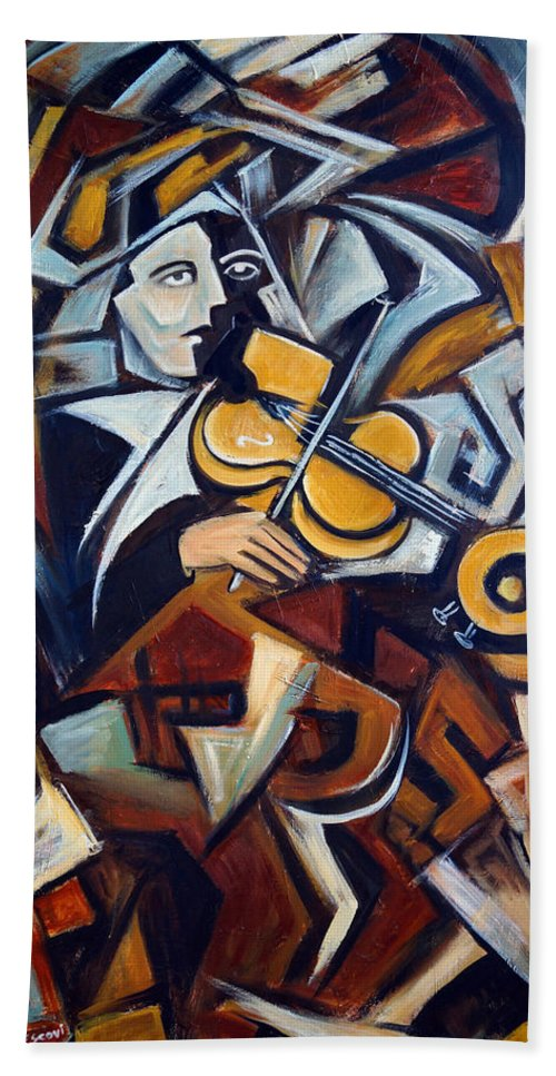 Musician Hand Towel featuring the painting The Fiddler by Valerie Vescovi