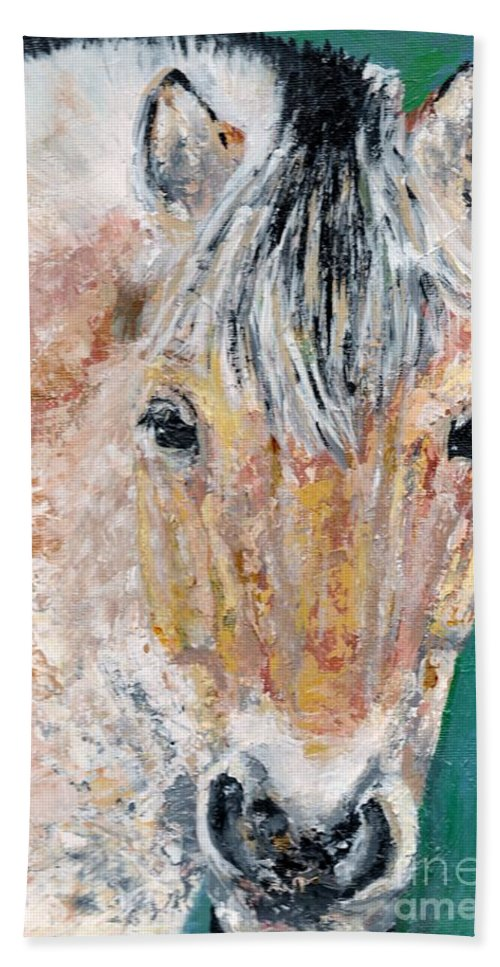 Fijord Horse Hand Towel featuring the painting The Fijord by Frances Marino