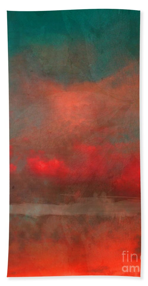 Abstract Hand Towel featuring the photograph The Fire Clouds by Tara Turner
