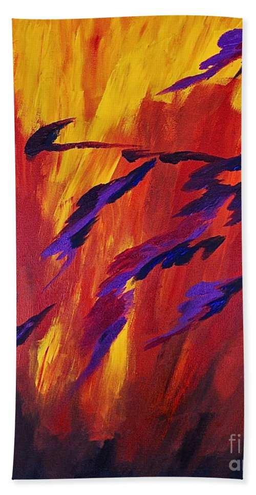 Abstract By Herschel Fall Deep Colors Red Hot Bath Sheet featuring the painting The Fire Of Life by Herschel Fall
