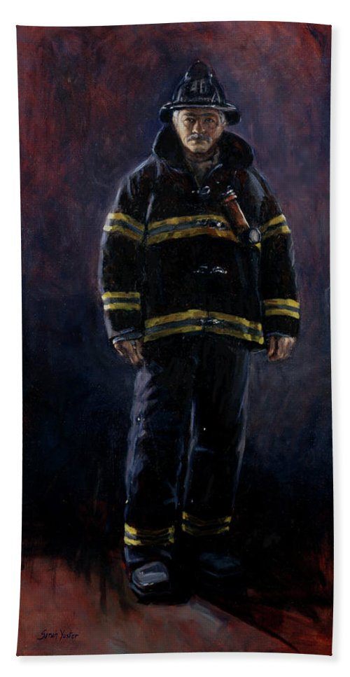Firefighter Hand Towel featuring the painting The Firefighter by Sarah Yuster
