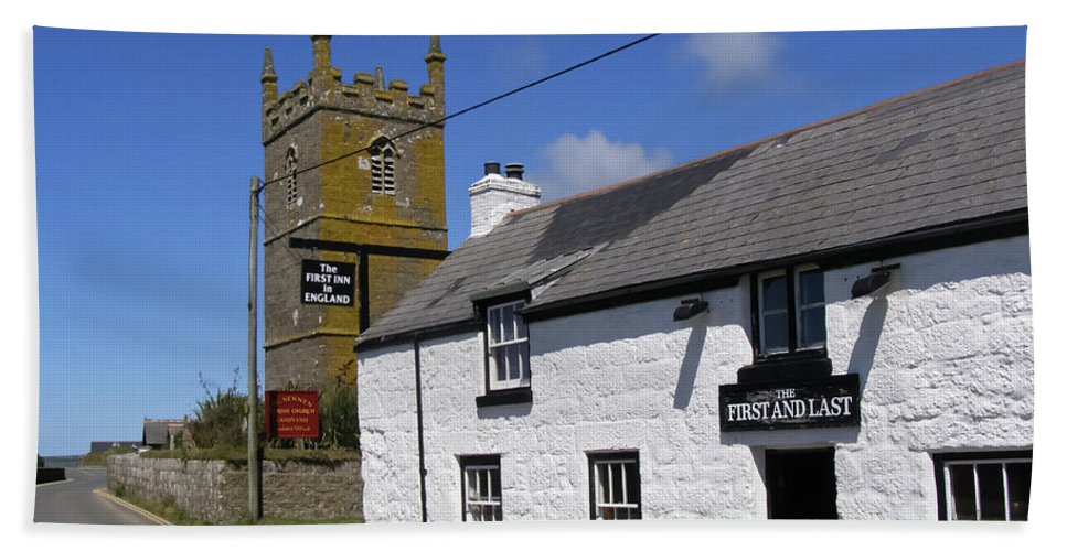 Cornwall Bath Sheet featuring the photograph The First And Last Inn In England by Terri Waters