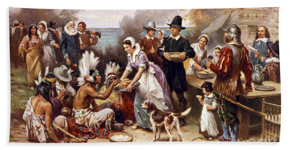 Thanksgiving Bath Sheet featuring the painting The First Thanksgiving by American School