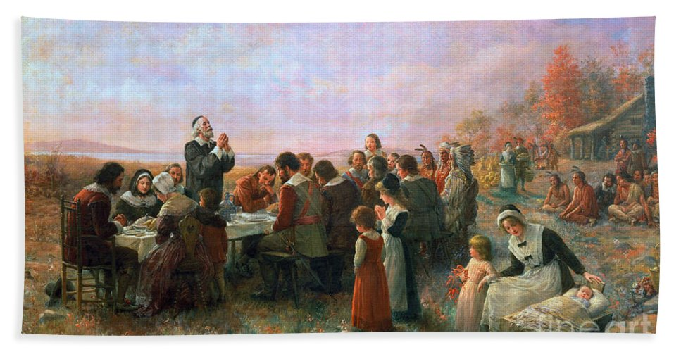 1621 Bath Sheet featuring the photograph The First Thanksgiving by Granger