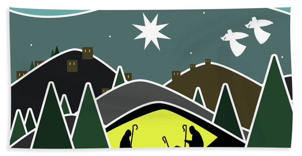 Star Hand Towel featuring the digital art The First Visitors White Version by Fady Dow