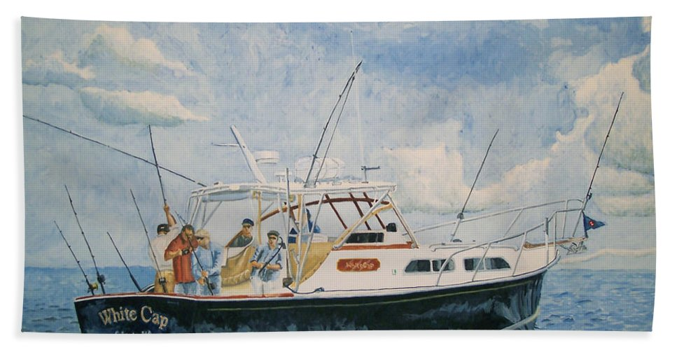 Fishing Bath Towel featuring the painting The Fishing Charter - Cape Cod Bay by Dominic White