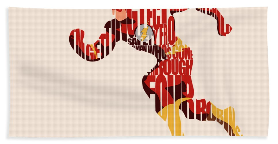 Flash Bath Towel featuring the digital art The Flash by Inspirowl Design