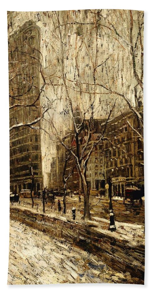 Painting Bath Sheet featuring the painting The Flatiron Building 1 by Mountain Dreams