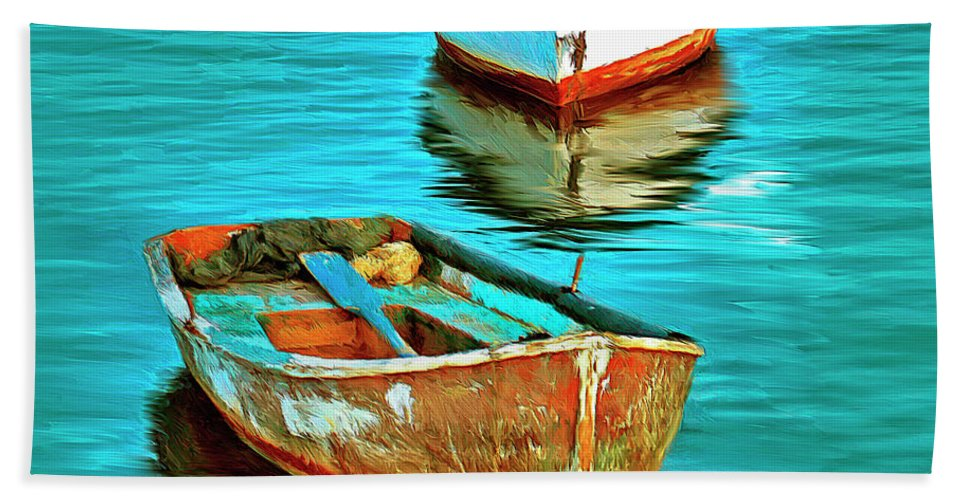 Boats Bath Sheet featuring the painting The Fleet by Dominic Piperata