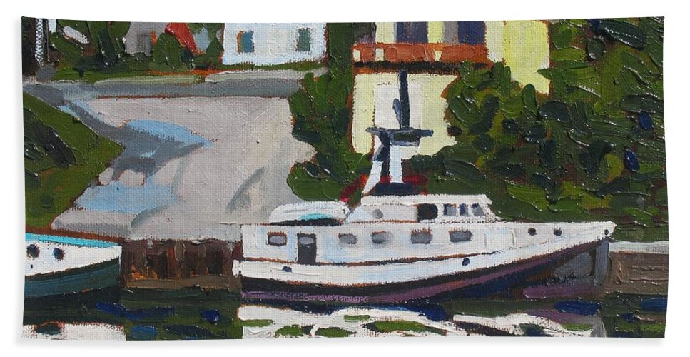 810 Hand Towel featuring the painting The Fleet by Phil Chadwick